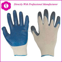 YIBOLI produce Textured Natural Rubber Palm Coated and Crinkled Latex Gloves with 13 Gauge Seamless Nylon Liner