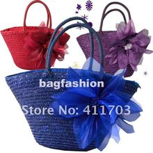 Beach Bag for ladies Sweet Woven handbags with flowers