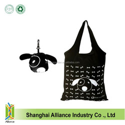 Cute Animal Dog Style Foldable Polyester Shopping Tote Bag Wholesale