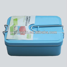 PP plastic Mircowaveable double wall lunch box with stainless steel lock and handle