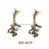 RH-4639 New Arrive Fun Daisy Earrings New Design Jewelry Vintage White Pearl Branch Retro Earrings