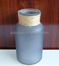 Glass Storage Bottle with wooden Stopper and hemp rope decor