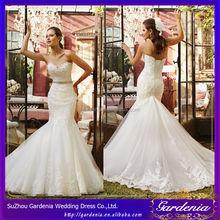 2014 Latest Designs vestidos de novia Sweetheart Mermaid Crystal Bridal Gown Lace Top Wedding Dresses