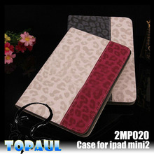 2015 fashion design Sexy Leopard leather case for ipad mini 2 with anti-slip laptop stand