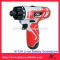 Profesional superior alto rendimiento de China 9112A 12 V Li ion recargable destornillador inalámbrico taladro de batería