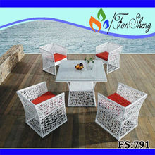 Fansheng blanco PE / mimbre RATTAN muebles de exterior específica uso jardín SET