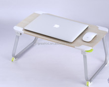Simple design wooden laptop stand with aluminum legs