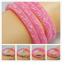 Popular Pink Double Strings Mesh Braided Stardust Bracelet With Crystal Stones Filled Magnetic Clasp Bracelet Bangle