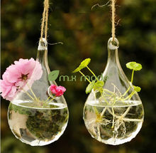 2014 hot sale teardrop-shaped hanging glass vases for home decoration