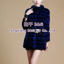 BG60431 2014 fashion Genuine Rex Rabbit Fur Similar to Chinchilla Clothes Women OEM Wholesale Retail