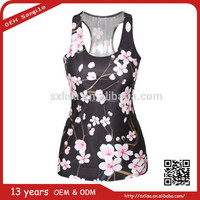 china supplier wholesale custom flower-print blouses tank top