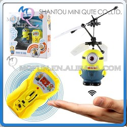 Mini Qute RC remote control flying cartoon despicable me minion model plastic doll action figures kids Electronic toys NO.MQ 037