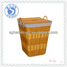 handmade wicker craft storage basket with handle lid and liner