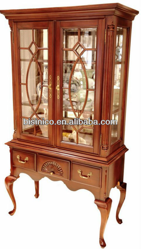 Queen anne series living room furniture porcelain ware display cabinet
