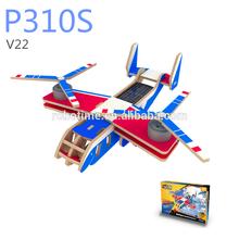 Fai da te solare giocattolo puzzle di legno 3d aereo per i bambini- v22