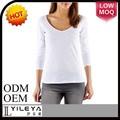Venta caliente de calidad garantizados de marca para mujer manga larga blanco t- shirt para la sublimación