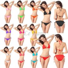 Women's Candy Color Fashion European&US Style Hot Selling Solid Color Sexy Bikini Set Swimming Suits