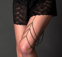 BC1445-017 Women Body Jewelry Silver Draped Three Tier Filigree Leg Knee Body Chain jewelry on Stretchy Garte