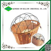 Wire lidded wicker cheap pet bike basket