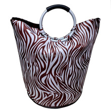 600D zebra print laundry carry tote bag with two aluminum handles