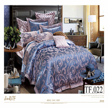 King size wedding bridal bed set silk jacquard luxury european bedding set 3d embroidery 100% cotton bed set
