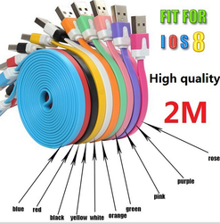 2m 6FT colorful flat noodle Braided Fabric Nylon Woven usb Charging Cable for apple iphone 4 4s 3GS 3G