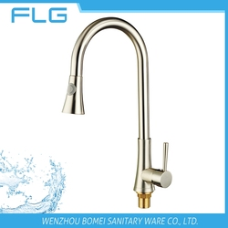 Lead Free Healthy Factory New Product Nickel Brushed Pull Out Spray Kitchen Mixer Tap Faucet FLG0029 With Detergent container