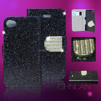 Hot selling luxury shiny powder glitter rhinestone bling wallet card holder for iphone4s