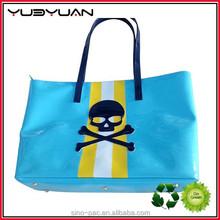 2015 Beautiful eco friendly reusable fancy combine color PU shopping bags