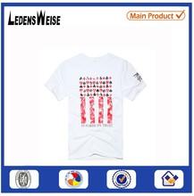 2015 fashion round collar printing white t shirt