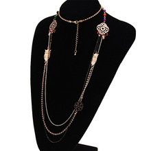 China manufacturer jewelry long necklace designs 18k gold plated jewelry