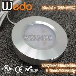 WD-300C 2015 White Trim 24V 12V Dimmable LED Puck Light Kit