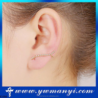 Very Attractive Sexy 18KGP Gold Plated Crystal Left Ear Clip On Stud Earring Charm Design