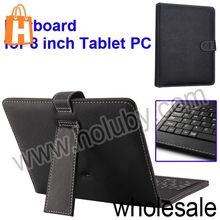 8 Inch Tablet PC Case with Keyboard with Holder,USB Cable,Touch Pen