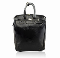 2015 New arrival waterproof korea style genuine leather travel trolley bag for woman,duffle bag