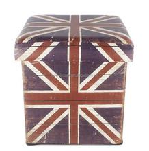 UK Flag Printing Faux Leather Square Foldable Storage Stool / Box