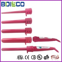 Pink Clip free Tourmaline Ceramic 5P Multiple head Curling Iron With LCD or LED display