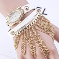 2015 Tassel gold chain Latest Leather Lady Watch Design for Ladies Wholesale