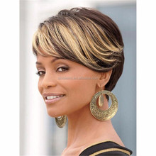 Fashion Multi-color None Lace Synthetic Hair Wigs for Black Women Short Length Natural Afro Waves Hair Wigs