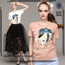 New European Ladies T-Shirts Women T Shirt Cotton O Neck Woman Short Sleeve Tees Female Printed Tops