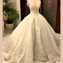 KE181 Real Sample Off- Shoulder Ball Gown Lace wedding Dress in Dubai