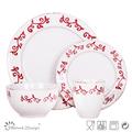 uso en el hogar 16 piezas de color rojo ronda sello de vajilla de cerámica conjunto Proveedores de cerámica China