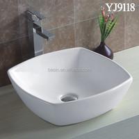 9118 Hot Sale Above Counter Small Wash Basin Porcelain Flat Bathroom Sink