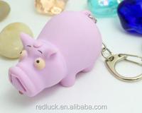 Fashion rhinoceros plastic LED animal keyring flashlight keychain