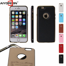 Factory Wholesale Protective ultra thin leather pu cell phone case for iphone 6s Aluminium metal frame for iPhone 6