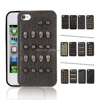 For iPhone 5 5s punk rivet skull tpu add metal cell phone case