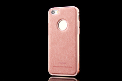 New!Pink Fundas For iphone Case Ultra Gold Metal+Genuine Leather Case Cover For Apple iphone 5 5s / 6 / 6 PLUS Luxury Phone Case