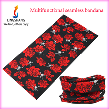 LINGSHANG fashion flower and skull bandana magic multifunctional hair accessories seamless outdoor sport neck bandana