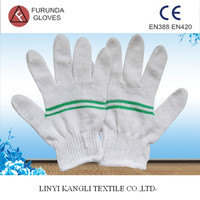 7/10 Gauge white knitted cotton gloves manufacturer in China