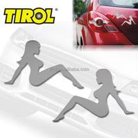 TIROL Stainless Steel 2pcs/set Girl Emblem Easy Peel & Stick Installation Auto Decoration Car Sticker